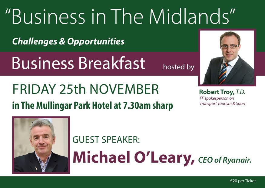 """Business in The Midlands – Challenges & Opportunities"" – Friday 25th November – Mullingar Park Hotel"